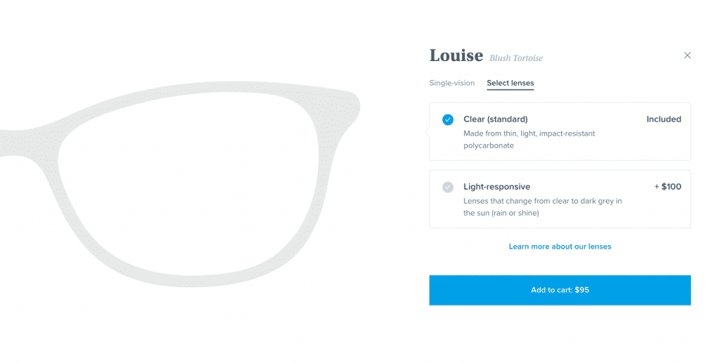 Warby Parker's upsells to increase average order value