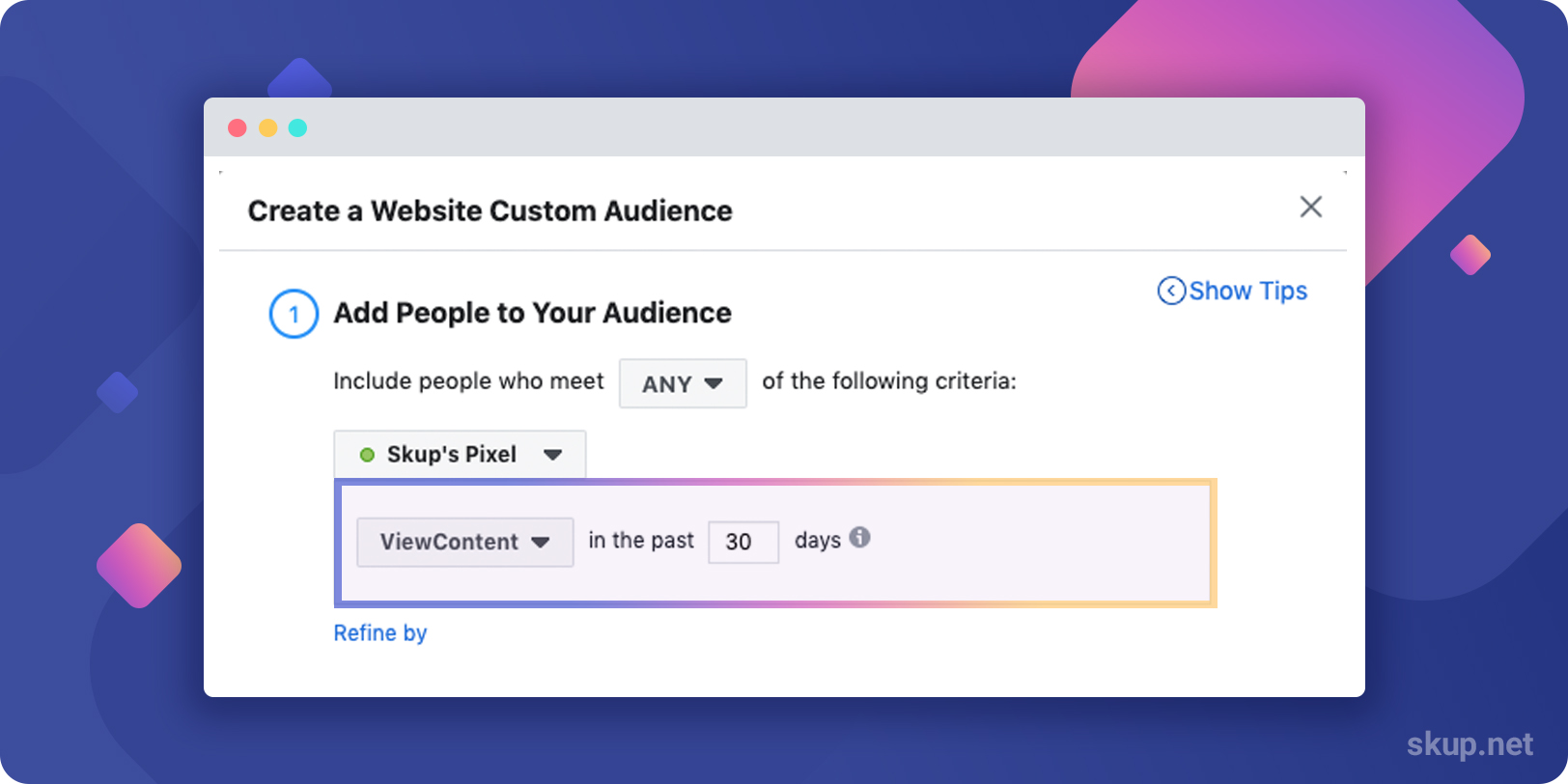 how to create a custom audience from website
