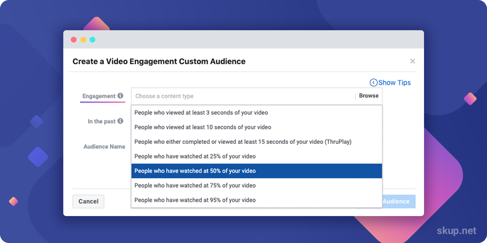 how to create custom audiences from video views